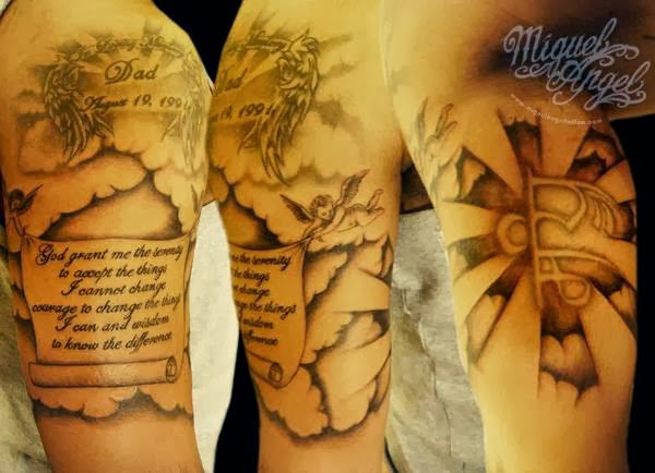 Religious design tattoo, with clouds and cherubs