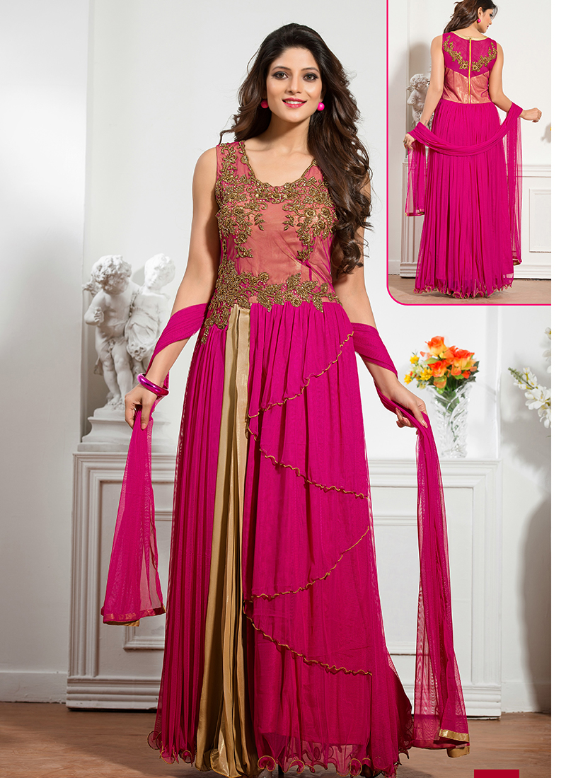Magenta net embroidered work designer wedding gown for Floor touch gown