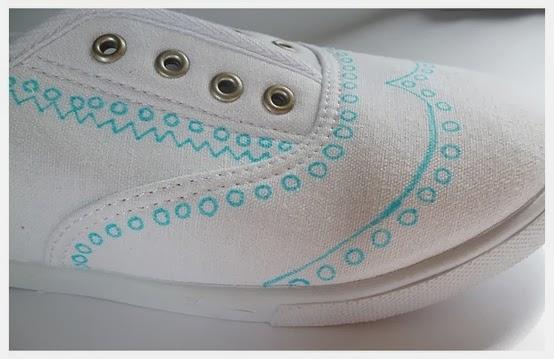Kerajinan Tangan Dari Bahan Bekas, Buat sketsa pada sepatu polos ...