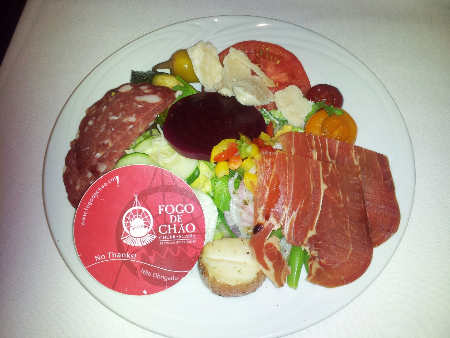 a plate of salad from Fogo de Chao restaurant