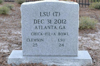Clemson memorializes win over LSU in Chick-fil-A Bowl with tombstone in its Graveyard.