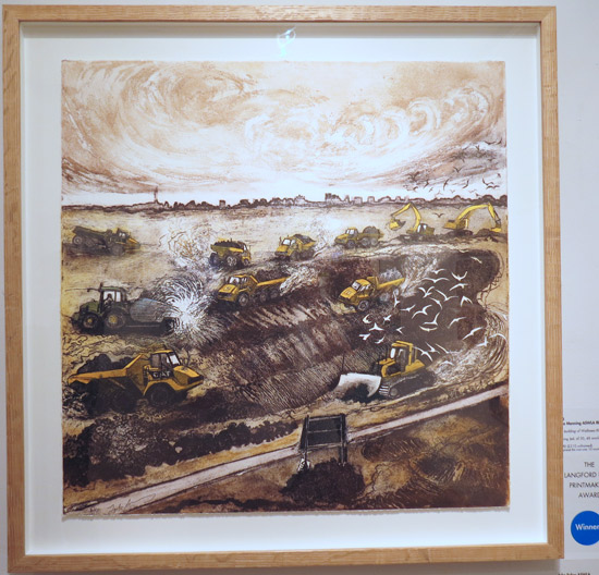 The Langford Press Printmaking Award: The Building of Wallasea RSPB by Julia Manning ASWLA