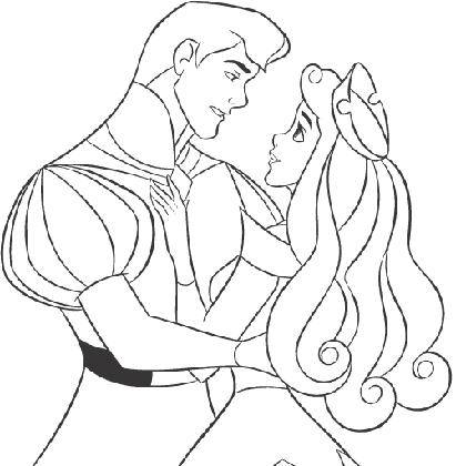 Coloriage princesse aurore le bal d 39 aurore coloriage - Prince et princesse dessin ...