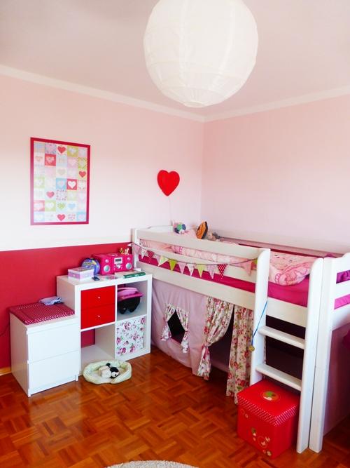 Kinderzimmer Rosa Rot Hochbett