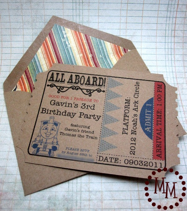 Train Ticket Birthday Invitations The Scrap Shoppe