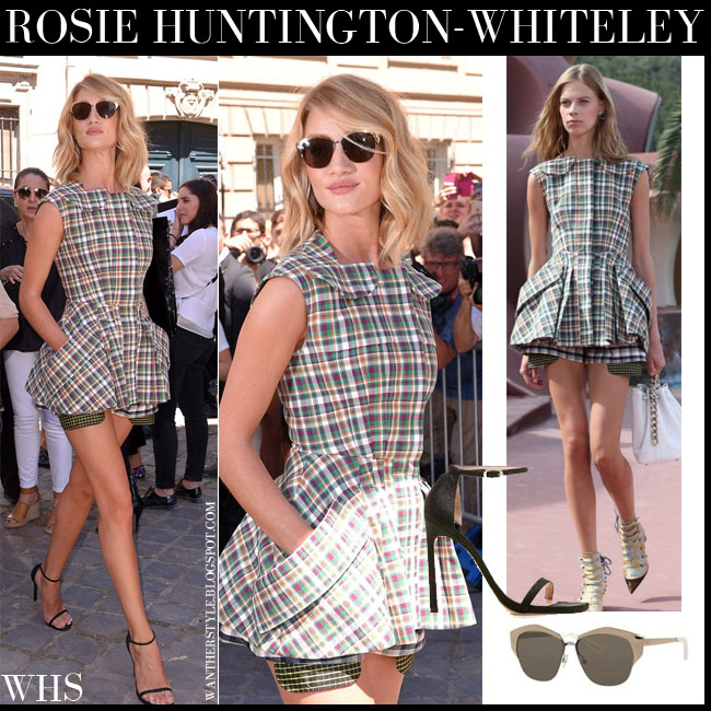 Rosie Huntington-Whiteley in tartan peplum top and shorts Dior resort collection with mirrored dior sunglasses paris what she wore july 6