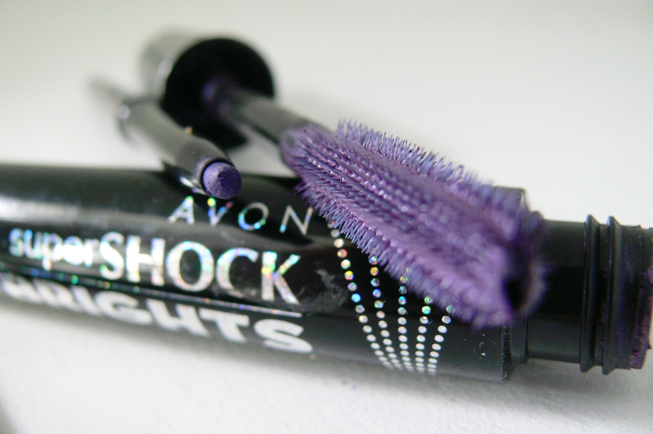 AVON SuperSHOCK Brights - Violet i Glimmerstick Brights - Purple Peach