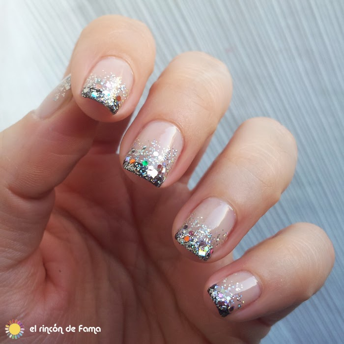 NAIL ART DEGRADADO CON GLITTER