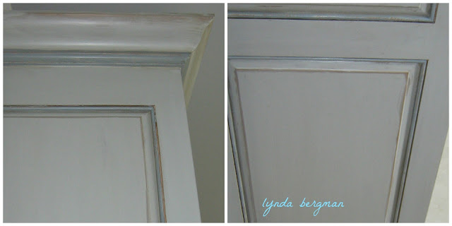 ARTISAN PAINTING DISTRESSED & GLAZED, GRAY & BLUE OFFICE CABINETS
