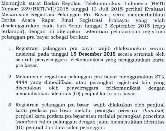Cuplikan Surat BRTI - Registrasi Prabayar
