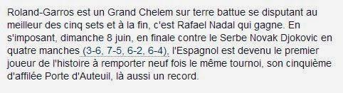 Le Monde, Roland Garros, Nadal