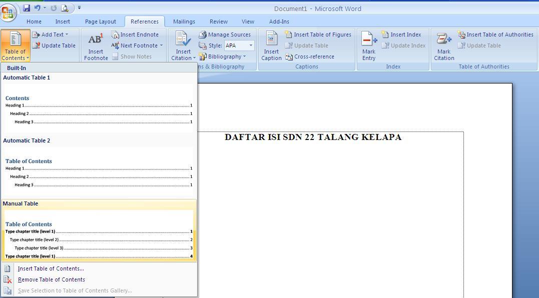Tutorial Cara membuat Daftar isi di Microsoft Office Word