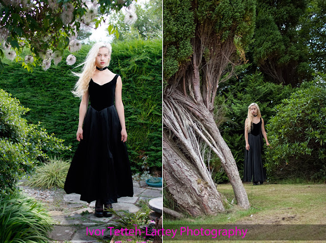Fashion portrait photography in a Midlothian garden near Loanhead.