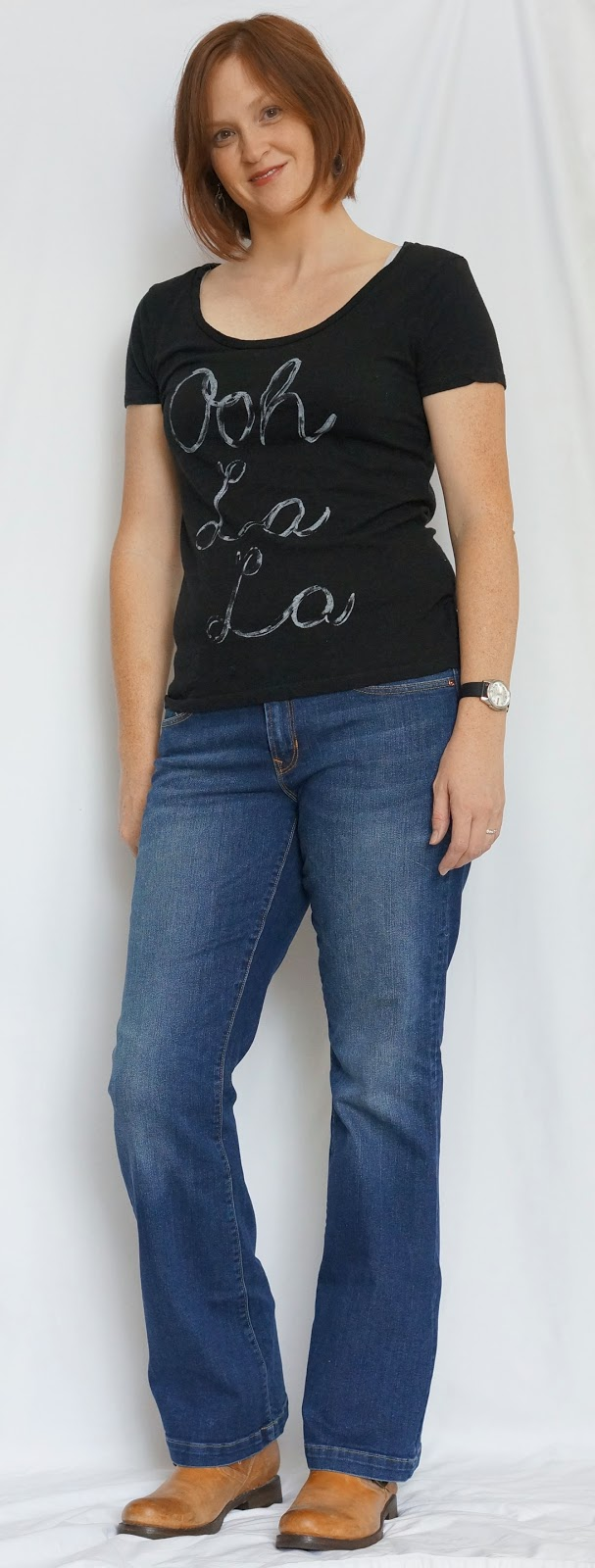 Black t shirt and jeans - Outfit 20 91 Black T Shirt Bootcut Jeans And Frye Boots
