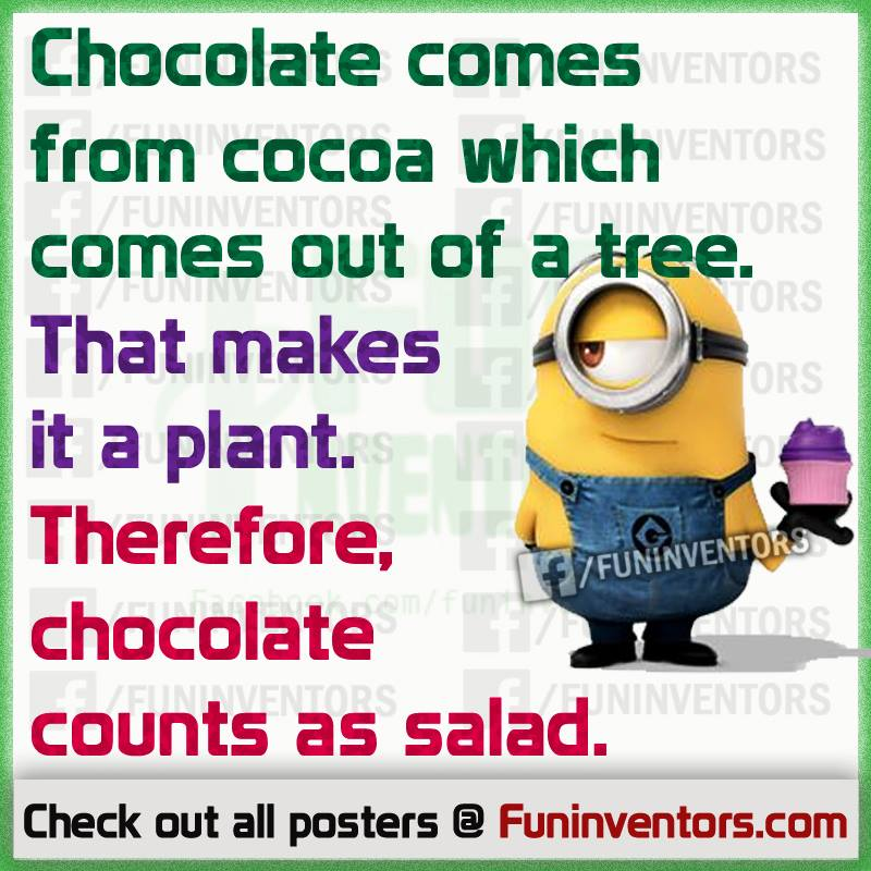 Chocolate counts as salad funny minion quote