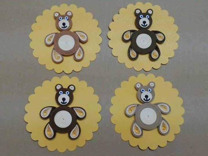 Big brown quilling teddy bears for Big quilling designs