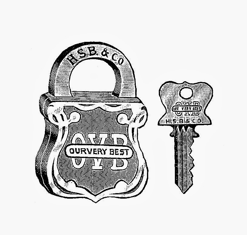 Free Key and Lock Digital Stamps: Antique 1913 Key and Lock Set from Our Very Best Catalog