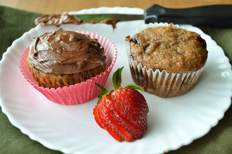 Strawberry Banana Nutella Muffins - She Bakes Here