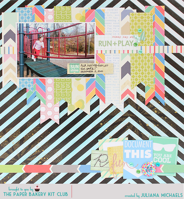 Paper Bakery June Scrapbook Kit Sketch Challenge #5 Juliana Michaels