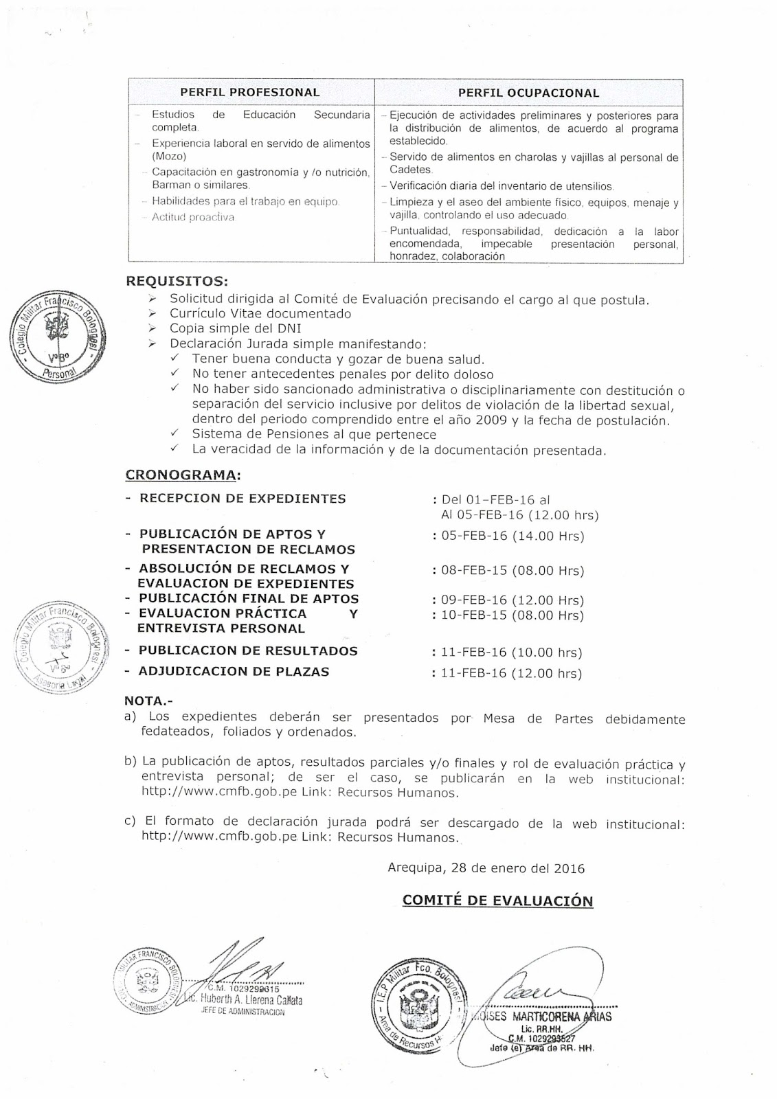 Convocatoria n 001 2016 cmfb noticias m s importantes for Convocatoria de plazas docentes 2016