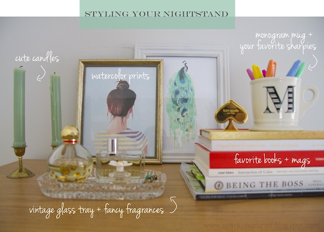 how to style your nightstand I mariana hodges for sparkyourprint.blogspot.com
