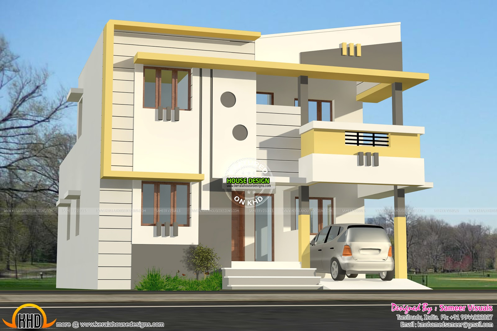 Modern style small double storied home kerala home for Home designs in tamilnadu