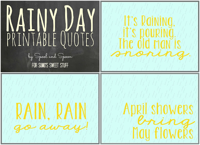 Coordinating Rainy Day Printables by Spool and Spoon for Sumo's Sweet Stuff