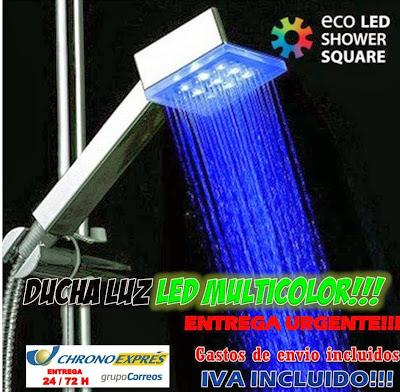 ducha luz LED cambia temperatura