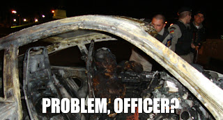 problem, officer? burned man in car