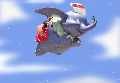 Dumbo Christmas Disneyland holiday flying Disney ride Merry