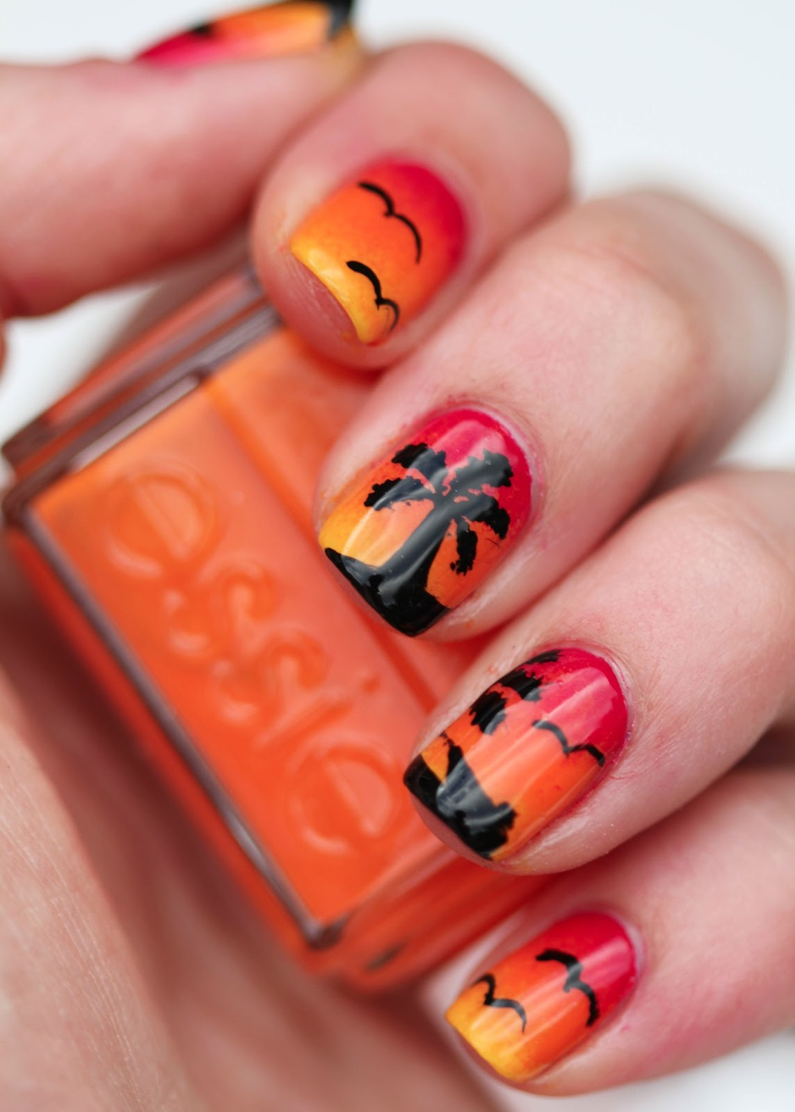 Fundamentally Flawless Sunset Nail Art With Palm Trees And Birds