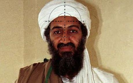 in laden gun in laden face. in laden gun bin laden face.