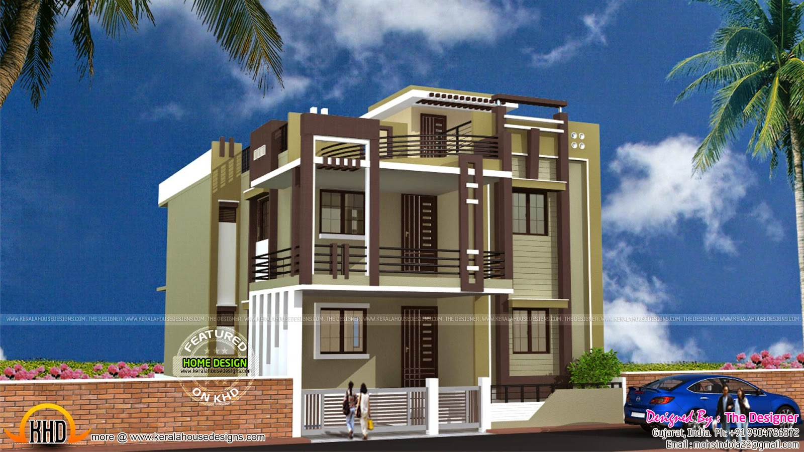 5 bedroom Gujarat house exterior Kerala home design and floor plans