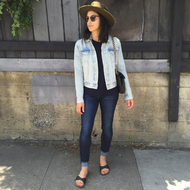 OOTD, SF style, denim, gap, true religion, birkenstocks, J. Jill, Goorin Bros. Jigsaw