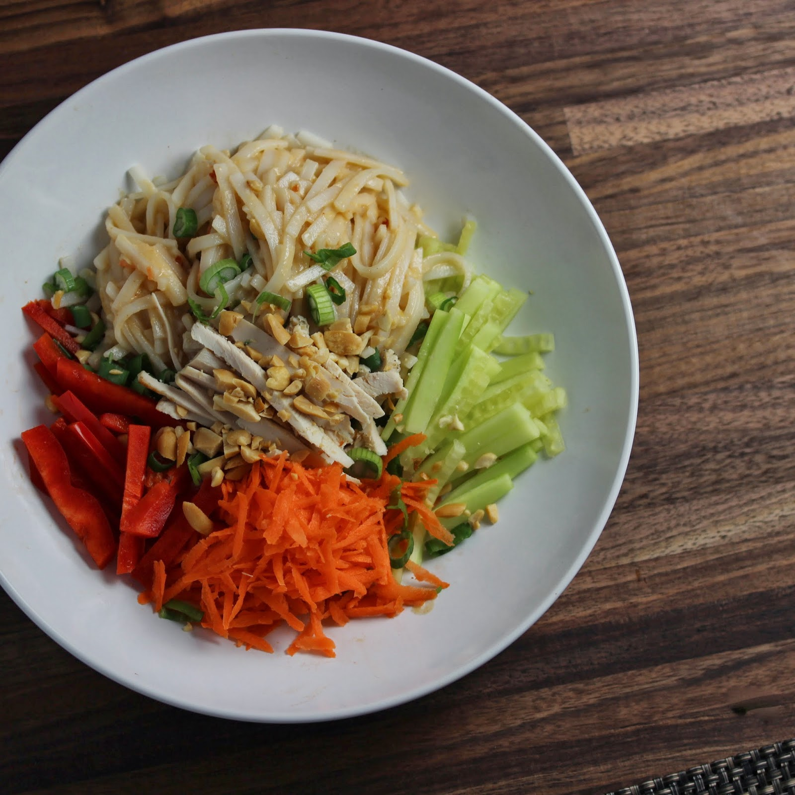 Rice Noodle Salad, leftover chicken