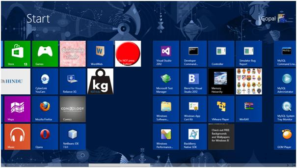 Windows 8 Start Screen having custom windows tile icon