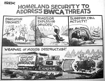 4 panel cartoon showing Predator drones (mosquitoes), roadside explosive devices (skunks), sleeper cell activity (bears in hibernation), weapons of moose destruction (DHS bulldozer bearing down on a frantic moose)