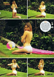 Keeley Hazell various photos in panties topless at a park