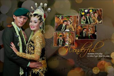 Berfoto close up dalam satu bingkai nama pengantin : Triyono & Mega