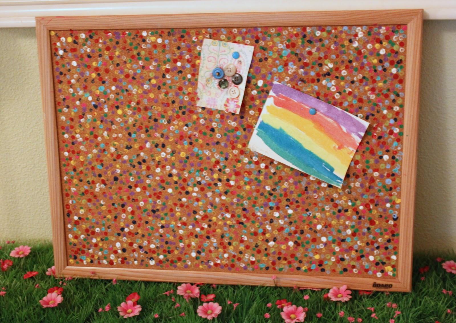 green owl art confetti cork board