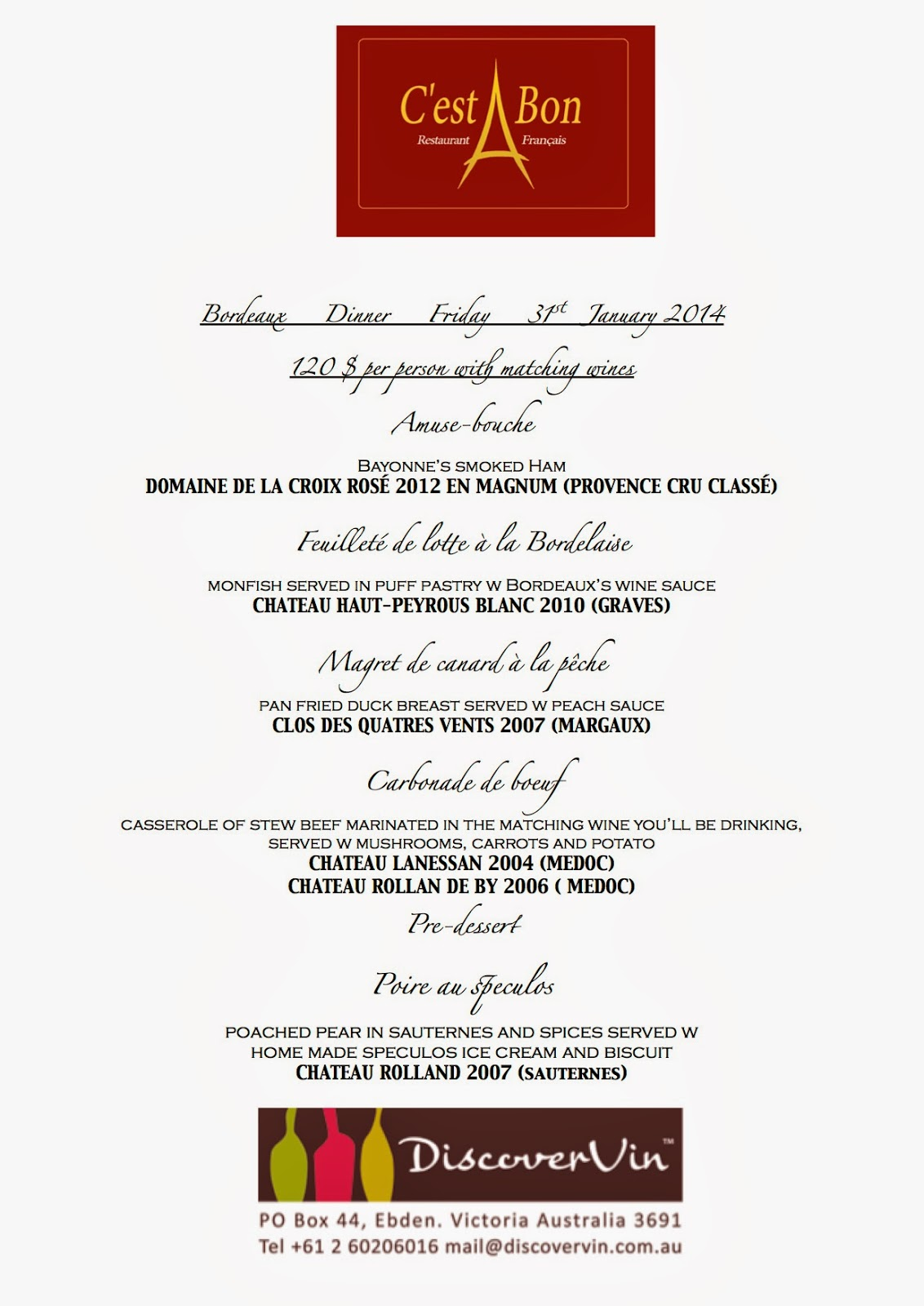 menu c'est bon brisbane bordeaux dinner January 31, 2014