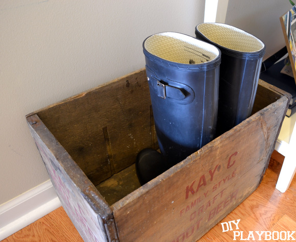 Hunter boots in vintage crate antique: Design Your Entryway | DIY Playbook