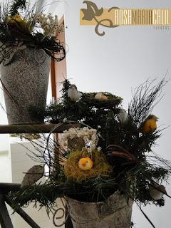 balde envelhecido, festão, passarinhos, ninhos, escada, arranjos, atelier Rosa Maria Calil