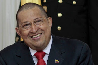 Hugo Chavez with short hair after cancer treatment