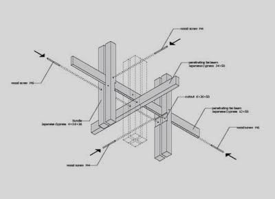 Dibujo de como entramar la madera para colocarla en techo