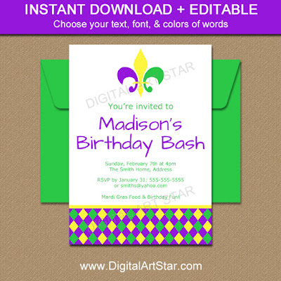 DIY Mardi Gras Birthday Invite
