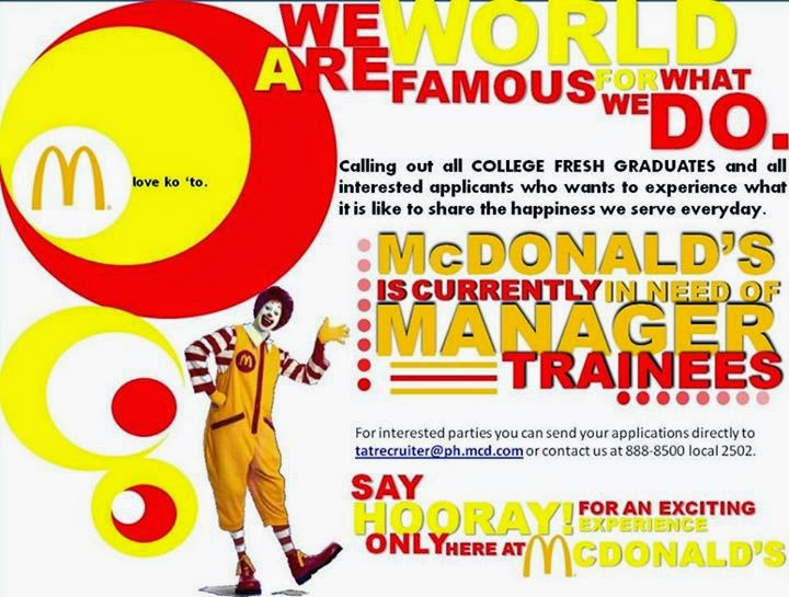 McDonald's is in need of Manager Trainees!