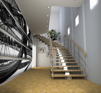 decoración con fotomural pasillo