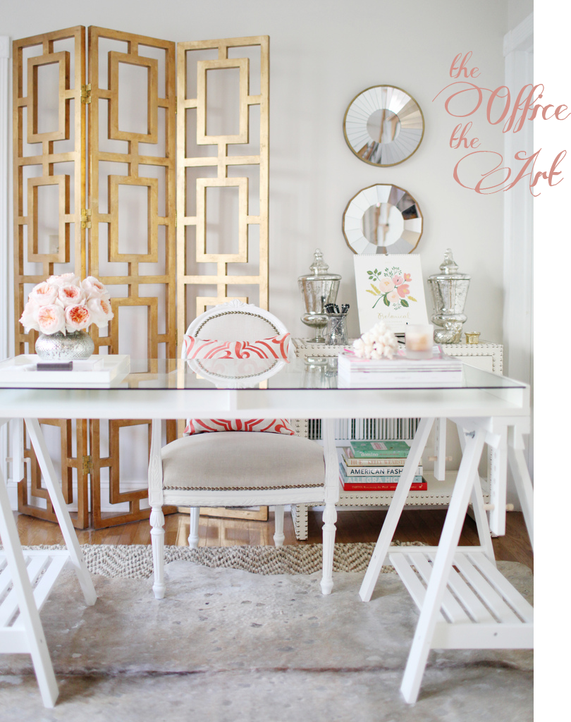 Pink and Gold Home Office