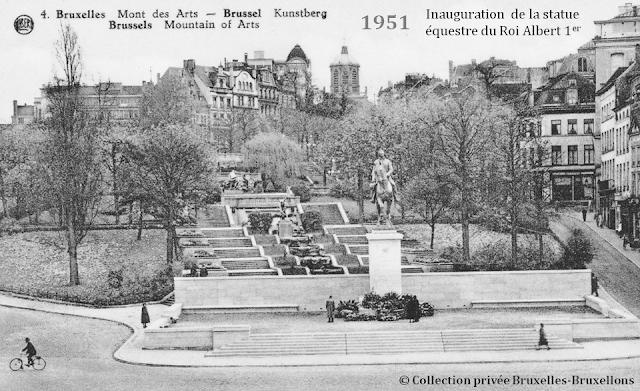Mont des Arts - Bruxelles disparu - Le début de la fin - Inauguration de la statue équestre du Roi Albert 1er au pied du premier Mont des Arts qui va bientôt disparaître du paysage bruxellois - Bruxelles-Bruxellons